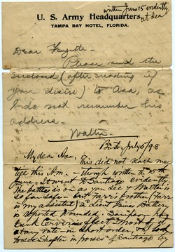 Letter from Walter M. Dickinson to Asa W. Dickinson
