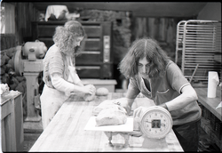 Marleen McCarty and Sammy Wolf working in commune bakery (Warwick, Mass.), linking to the digital object