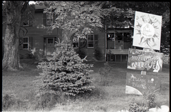 "Commune house in Warwick, with signs reading ""All ages, all races, all people welcome"" and ""no drugs, no alcohol allowed"" (Warwick, Mass.), linking to the digital object"