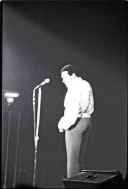 Richard Nader's Rock and Roll Revival concert at the Springfield Civic Center: Chubby Checker in performance (washed out) (Springfield, Mass.), linking to the digital object