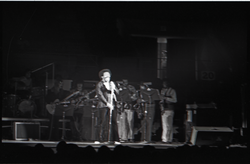 Richard Nader's Rock and Roll Revival concert at the Springfield Civic Center: Lloyd Price at front of backing band (Springfield, Mass.), linking to the digital object