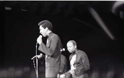 Richard Nader's Rock and Roll Revival concert at the Springfield Civic Center: the Drifters: Grant Kitchings with Johnny Moore in background (Springfield, Mass.), linking to the digital object