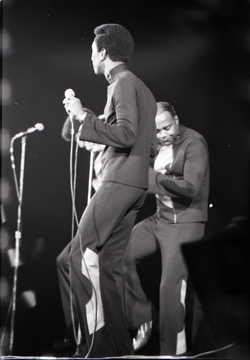 Richard Nader's Rock and Roll Revival concert at the Springfield Civic Center: the Drifters: Grant Kitchings and Johnny Moore, dancing (Springfield, Mass.), linking to the digital object