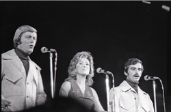 Richard Nader's Rock and Roll Revival concert at the Springfield Civic Center: the Skyliners in performance: Joe Verscharen, Janet Vogel, and Wally Lester (l. to r.) (Springfield, Mass.), linking to the digital object