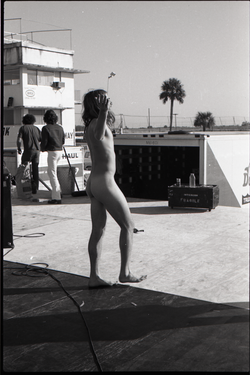 Hollywood Speedway Rock Festival: Wet Willie in performance, naked man on stage, raising arms (Pembroke Pines, Fla.), linking to the digital object