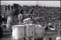 Hollywood Speedway Rock Festival: Wet Willie in performance, (l. to r.) Lewis Ross (drums), Rick Hirsch (guitar), and Jimmy Hall (harmonica) (Pembroke Pines, Fla.), linking to the digital object