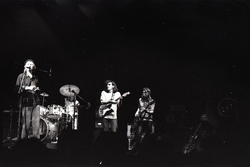 Hot Tuna concert: Band in performance on stage: Will Scarlett at microphone, Jorma Kaukonen (guitar) and Jack Casady (bass) behind (Boston, Mass.), linking to the digital object