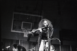 Jethro Tull in concert at the Springfield Civic Center: Ian Anderson (flute) (Springfield, Mass.), linking to the digital object