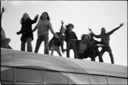 Free Spirit Press crew on top of the Spirit in Flesh bus (blurry) (Greenfield, Mass.), linking to the digital object
