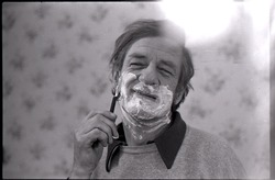 Sammy Metelica shaving, for an advertisement for Gillette razors (Massachusetts