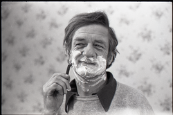 Sammy Metelica shaving, for an advertisement for Gillette razors (Massachusetts
