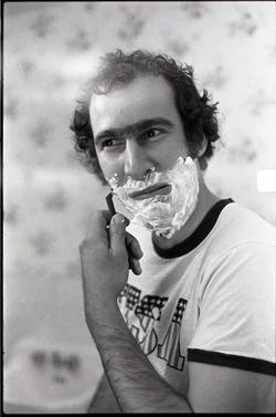 Richard Safft shaving, for an advertisement for Gillette razors (Massachusetts