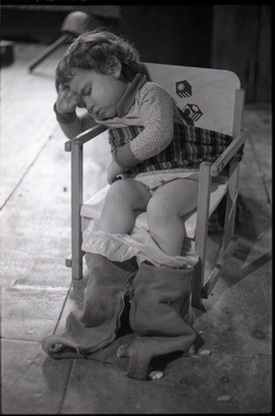 Child sleeping in a potty-training chair (New York, N.Y.), linking to the digital object