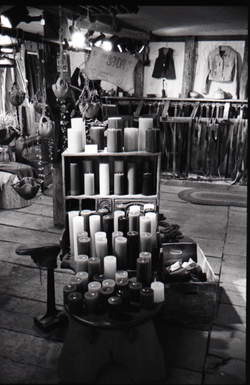 Display of candles at the Leather Shed (Amherst, Mass.), linking to the digital object