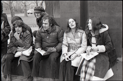 Richard Safft (center) and other commune members sitting by during interview by Channel 5 news (New York, N.Y.), linking to the digital object