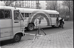 Camera set up in front of Free Spirit Press bus during interview by Channel 5 news (New York, N.Y.), linking to the digital object