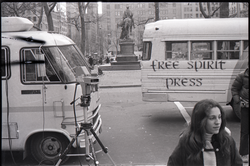 Free Spirit Press bus parked during interview by Channel 5 news (New York, N.Y.), linking to the digital object