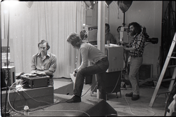 Peter Harris (with deck), camera crew and technicians for the WGBY program Open Door (unidentified crew member in foreground) (Springfield, Mass.), linking to the digital object