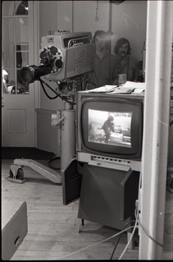 View of camera and monitor during broadcast of the WGBY program Open Door (Springfield, Mass.), linking to the digital object