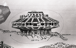 Architectural sketch of imagined city by Paolo Soleri (Greenfield, Mass.), linking to the digital object