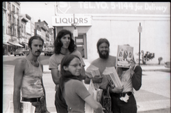 Crew distributing Free Spirit Press magazine: group of communards on a street corner, including Bill Grabin and Charlie Ribokas (center rear) and Kathy Murphy (New York, N.Y.), linking to the digital object