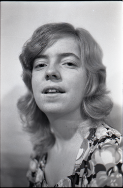 Half-length studio portrait of Julie Howard