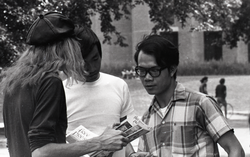 Free Spirit Press crew distributing the magazine in front of the UMass Amherst Student Union Building (Amherst, Mass.), linking to the digital object