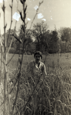 Young woman seated in a field, possibly near the commune house in Warwick (Warwick, Mass.), linking to the digital object