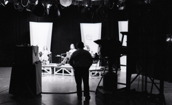 Commune members at the WGBY Catch 44 (public access television) interview: wide shot of the stage and camera operators (Springfield, Mass.), linking to the digital object