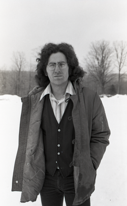 Mitch Seiser: half-length portrait, standing in the snow (Warwick, Mass.), linking to the digital object