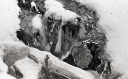 Ice formations, snow, in stream (Warwick, Mass.), linking to the digital object