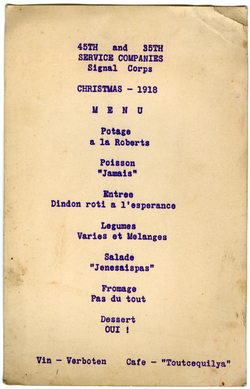 United States. Army. Signal Corps. Service Companies, 45th and 35t: Menu for Christmas dinner, linking to the digital object