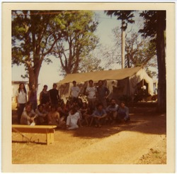 New England Brigade #6 members in camp, Aguacate, Cuba