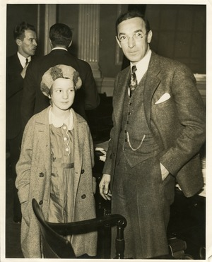 Howard B. Gill and daughter Joan at State House hearings on Norfolk Prison Colony