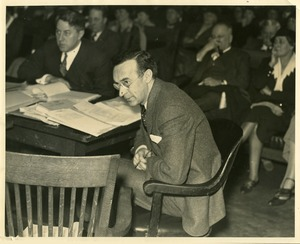 Howard B. Gill and attorney Raymond S. Wilkins at State House hearings on Norfolk Prison Colony