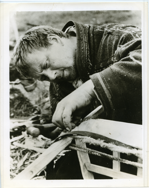 Lapp herdsman building a slate (Norway), linking to the digital object