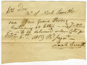 Receipt for pair of gravestones (60 letters) to Jos. Doe, linking to the digital object