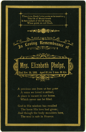 Memorial cards, linking to the digital object