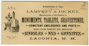 Business card, Lanconia, N.H., linking to the digital object