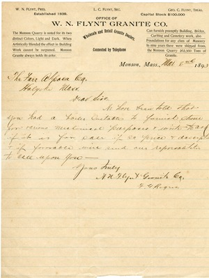 Letter to Farr Alpaca Co. (offering to purchase a boiler), Monson, Mass.
