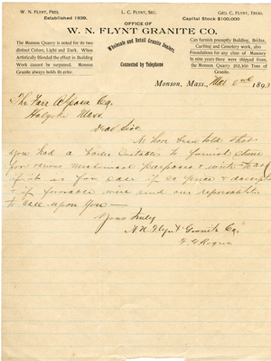 Letter to Farr Alpaca Co. (offering to purchase a boiler), Monson, Mass., linking to the digital object