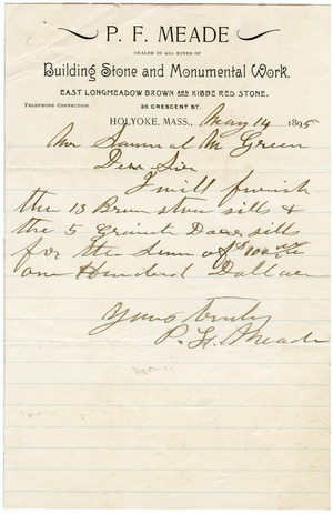 Letter to Samuel M. Green, Holyoke, Mass.