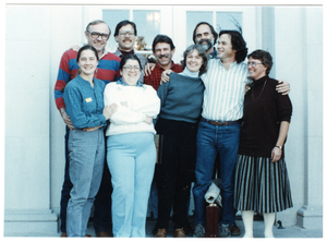 Organic Farmers Associations Council (OFAC) meeting: group posed by a doorway