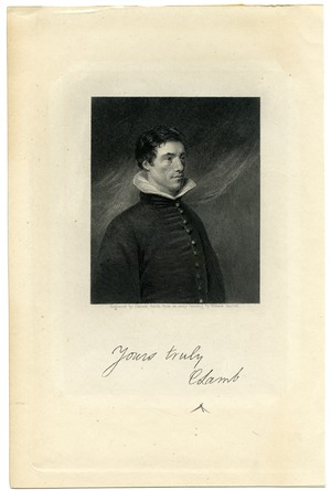 Steel engraving of Charles Lamb by Edward Smith after the portrait by William Hazlitt