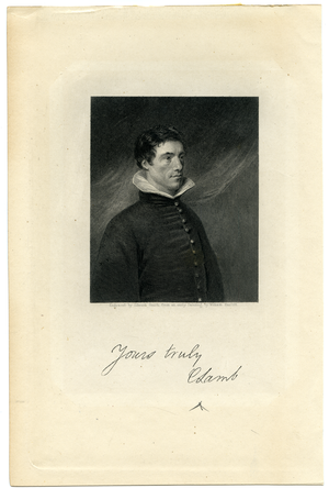 Steel engraving of Charles Lamb by Edward Smith after the portrait by William Hazlitt, linking to the digital object