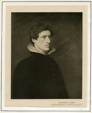 Print of Charles Lamb after a portrait by William Hazlitt, linking to the digital object