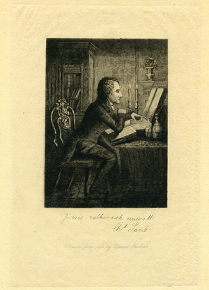 Portrait of Charles Lamb seated at desk, linking to the digital object