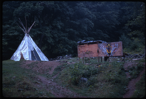 Johnson Pasture Commune: Teepee and signboard