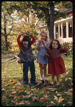 Montague Farm: Three little girls, Montague, linking to the digital object