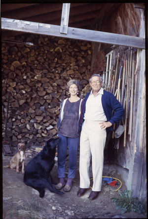 Wendell Farm: Nina Keller and Roy Finestone (father)?, two dogs, Wendell, linking to the digital object